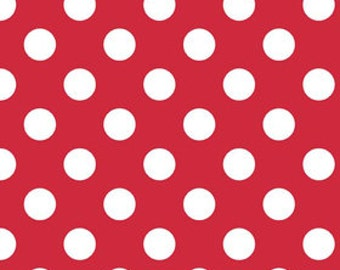 Red Medium Dots Fabric by Riley Blake Designs - Half Yard - 1/2 Yard - Red and White