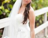 Single layer fingertip length style  wedding veil  white, ivory or diamond
