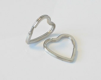 10 Metal Key Ring Heart Shape Split Rings 32mmx30mm K55-10