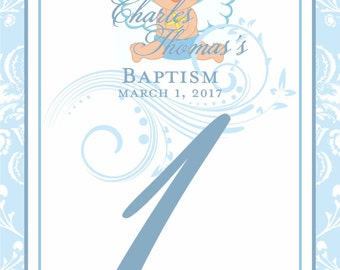First Communion Table Cards - Baptism Table Numbers - Customizable - First Holy Communion - Boy - Your Colors