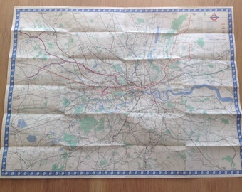 Original Vintage 1960's London Underground Tube Map