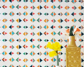 Removable Wallpaper // Triangle Print // Perfect for renters and DIY projects