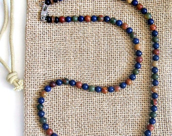 Men's Blue Lapis and Jasper Beaded Necklace