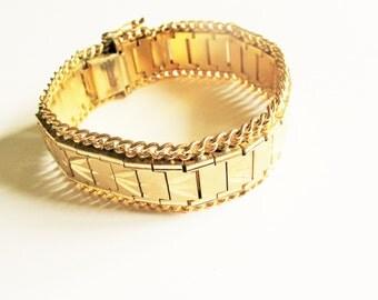 Chevron gate bangle: Pretty chevron pattern engraved gold plated hinged 1960s retro statement costume cuff bangle bracelet