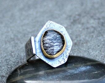 Rutilated Quartz Ring - Rose Cut Quartz Ring - Black Rutilated Quartz Ring - 18 KT Gold Bezel - Rustic Silver Ring - Textured Sterling Ring