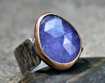 Tanzanite Ring - Rose Cut Tanzanite Ring - Tanzanite Rose Gold Ring - Rose Gold Bezel - Lilac Gem Ring - Big Tanzanite Silver Ring- US 8.5