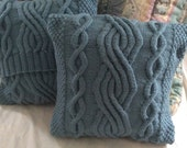 SALE: Azure Blue Chunky Cable Pillow-cover, fits 16x16