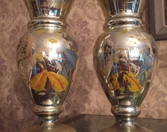 Pair of old Mercury Glass Vases with painted flowers