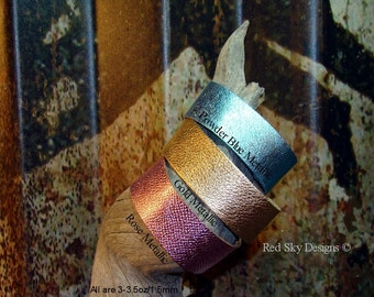 NEW Fun and Festive Metallics - Cuffs Leather Supply - 5 Pack - Multiple Sizes/Adjustable Snaps -Pick Your Cuff Colors