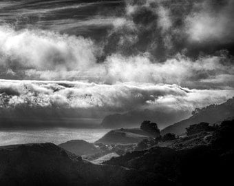 Big Sur Black and White Photo Ocean Photography California Coast Photograph Pacific Wall Art Fog Seascape nat137