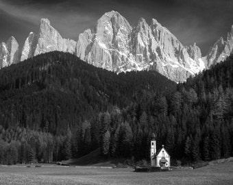 Dolomite Photograph Italy Black and White Photo Tyrolean Landscape Austrian Mountains Church Adige Wall Art ita121