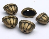 Large Oval Bead Cap Antique Brass Tibetan Style Bohemian Tassel Component jewelry Supplies Jewelry Components Altered Art Supplies Crafts