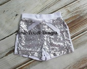 Sequin Shorts- Birthday Outfit- Girls Silver Sequin Shorts- Toddler Shorts- Sequin shorts-Girls shorts-1st Birthday Outfit- Photo Shoot