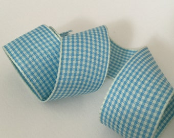 4.6 Yards of 1 inch (25mm) Blue Gingham Plaid Ribbon for Jewelry, Accessories, Clothing