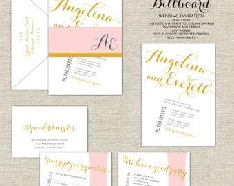 Blush and Gold Wedding Invitations, Calligraphy, Belly Band, Billboard, Flag, Modern Wedding Invitations, Pink Wedding Invitations