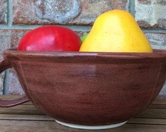 Handmade Wheel Thrown Homemade Milke Chocolate Stoneware Ceramic Fruit and Berry Bowl or Extra Large Mug