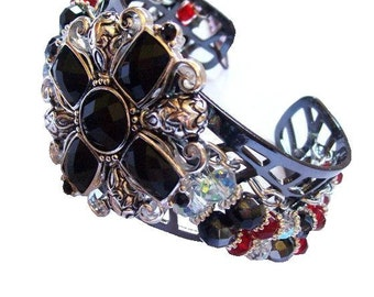 Night at the Castle ( Medieval Black and Red Metal Cross Cuff Bracelet)