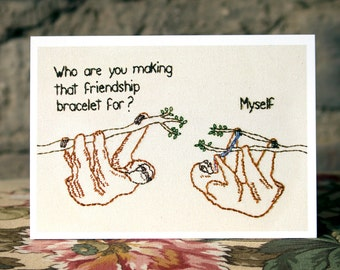 Friendship Sloths Embroidery Greeting Card