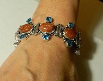 Tibetan Silver Bracelet Handmade:Goldstone Gemstone Bracelet Beaded-Blue Crystal Beadwork Bracelet-Blue And Silver Bracelet Sale For Her USA