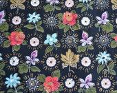Vintage Barkcloth Fabric - Multicolored Flowers on Black - 47 x 38