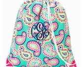 Girls Monogrammed Paisley Print Drawstring Backpack Gym Bag Personalized Cinch Sack