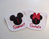 Minnie and Mickey Mouse Birthday Bibs