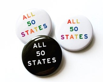 ALL 50 STATES Pinback Button Marriage Equality LGBTQ