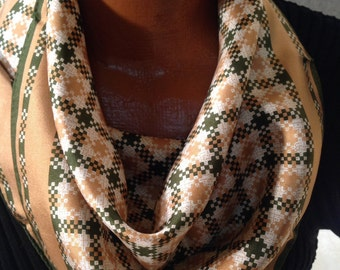Vintage Brown and White Checked Silk Scarf