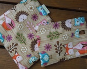 Reusable sandwich and/or snack bag - Reusable snack bag - Fabric sandwich bag - Woodland critters - Owls, foxes, porcupines sandwich bag