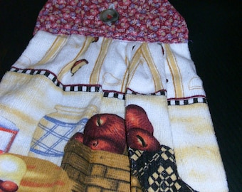 HANGING TOWEL #3 Button On, Red Apple Basket, Made in US, Fabric Top, Terry Cloth ,