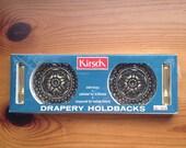 mid century ornate brass drapery holdbacks vintage kirsch #7616