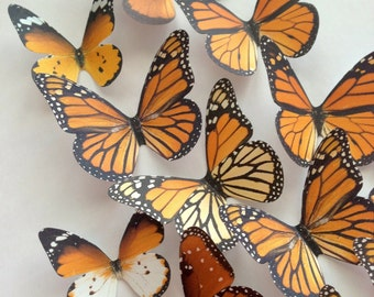 3D WALL DECORATION - decorative butterflies - 3D monarch butterflies - monarch butterfly - monarch butterflies wall art by Uniqdots on Etsy