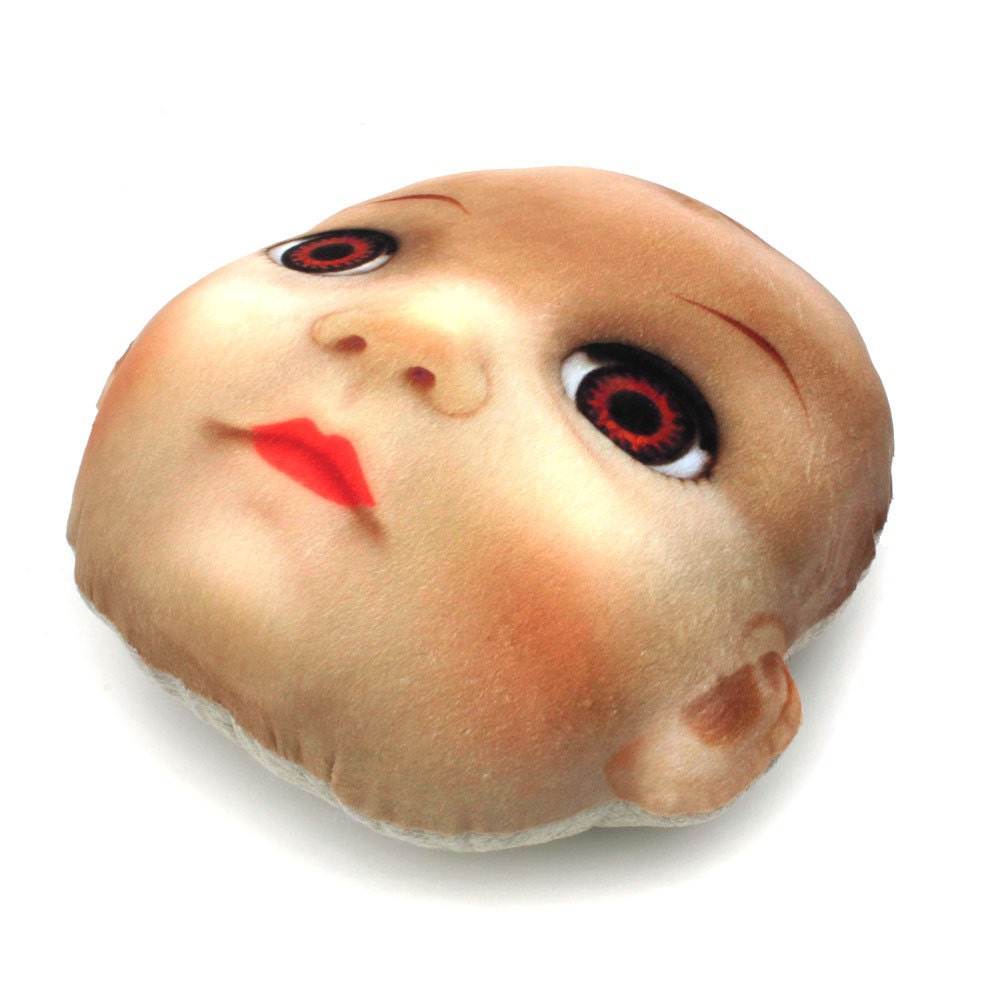 Cute Pillow Doll : Creepy Cute Doll Head Throw Pillow vintage doll by RawBoneStudio