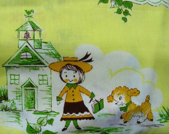Vintage Cotton NOVELTY Nursery Rhymes Fabric Yardage  -  on YELLOW  Background - Sold by the Yard - NOS - 36 inches  wide