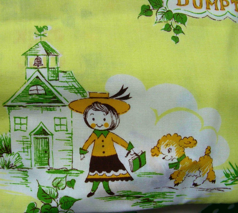 Vintage cotton novelty nursery rhymes fabric yardage on for Retro nursery fabric