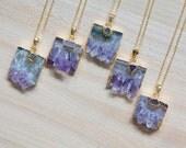 Rare Amethyst Druzy Slice Necklace