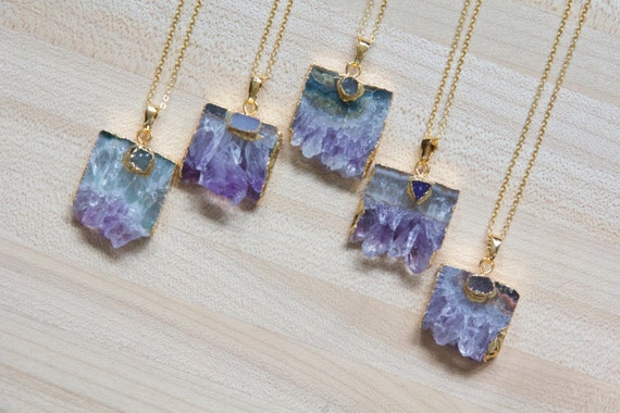 Rare Amethyst Druzy Slice Necklace