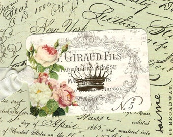 Tags, French Style, Roses & Crown, Gift Tags, Vintage Style