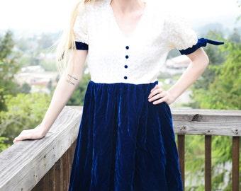 Navy Velvet Vintage 60s Dress