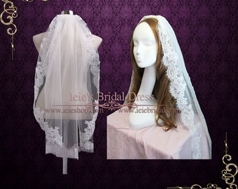 Fingertip Lace Wedding Veil | Single layer lace Veil VG1047