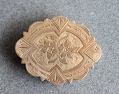 Large Victorian Chased Gold Medallion Brooch for Repair