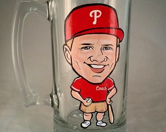Custom Premium Cool Groomsmen Gift -Full Body - Color - Original Caricature Beer Mug - Hand Painted Beer Mug