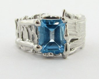 SALE!*** Tree Trunk Ring, Blue Topaz ***