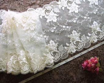 Embroidered lace, lace trim, bridal lace, wedding lace, tulle lace, ivory lace, 2 yards  WT161
