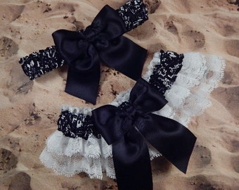 Black Bandana Paisley Black Ribbon Double layers White Lace Wedding Garter Toss Set