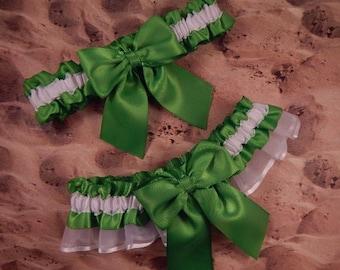 Lime Green White Satin white Organza Wedding Bridal Garter Toss Set