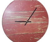 10 or 12 Inch SILENT Barn Red Rustic Wall Clock NUMBERS Optional, Wood Image Wall Clock, Unique Wall Clock (NOT Real Wood) - 1987