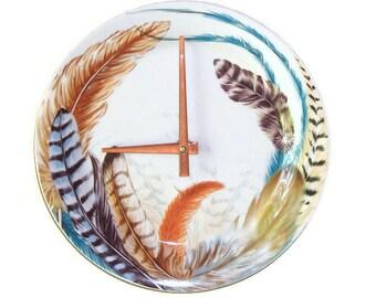 Colorful Feather Wall Clock SILENT 8-3/4 Inches / Ceramic Plate Clock / Kitchen Clock / Unique Wall Decor / 1710