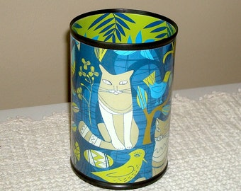 Cat and Bird Pencil Holder - Desk Accessories - Makeup Brush Holder - Pencil Cup - Desk Organizer - Navy Blue Turquoise and Lime Green - 543