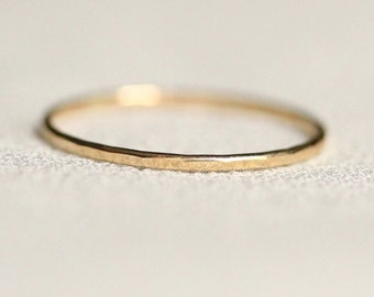 Simple 14k Gold Hammered Band Ring - Solid 14k White or Yellow or Rose Gold - Tiny Delicate Halo - Dainty and Thin